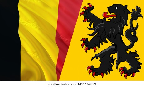 Flemish and Belgium flags. Waving flag design,3D rendering. Flemish Belgium flag picture, wallpaper image. Flanders Belgian and Brussels Antwerp represent Vlaams Belang and Vlaanderen party relations