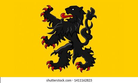 Flemish region flag in Belgium. Waving flag design,3D rendering. Flemish Belgium flag picture, wallpaper image. Flanders Belgian and Brussels Antwerp represent Vlaams Belang and Vlaanderen party