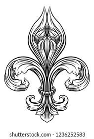 A Fleur De Lis heraldic coat of arms graphic design element