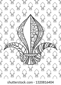 Fleur de lis. Mardi Gras coloring page for adult coloring book. illustration.