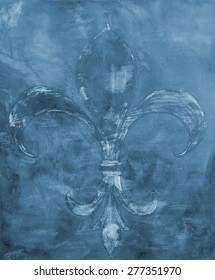 Fleur de lys background illustration on canvas in monochrome grey