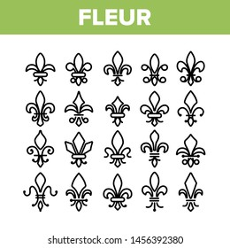 Fleur De Lys, Royalty Linear Icons Set. Fleur, French Lily Thin Line Contour Symbols Pack. Ornate Exterior Decoration Pictograms Collection. Traditional Floral Insignia Outline Illustrations