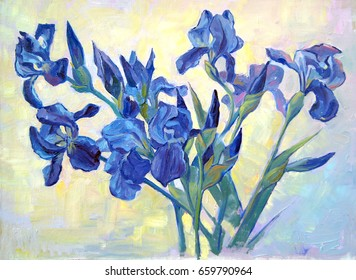 Fleur-de-lis. A beautiful oil painting of irises. Flowers on a juicy light background. Bright, colorful and textured brush strokes.