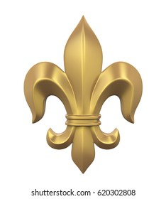 Fleur-de-lis Isolated. 3D rendering