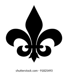 Fleur-de-lis symbol isolated on a white background.