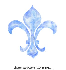 Fleur-de-lys hand drawn watercolor blue ornamen, isolated on white background. Vintage heraldic illustration.
