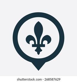 fleur-de-lys icon map pin on white background