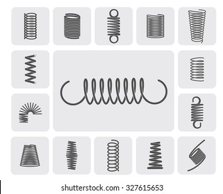Flexible metal spiral springs flat icons set isolated  illustration
