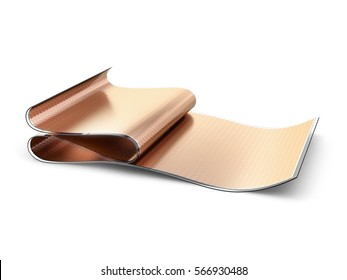 Flexible organic solar cells or panels manufactured using inkjet printing. 3D illustration isolated on white background.