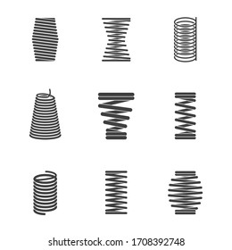 Flexible steel spiral. Metal bended wire coils shape elastic and compacted forms icon silhouettes isolated
