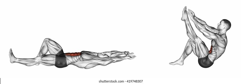 Flexion of the trunk with the legs pulling up the leg. 3D illustration