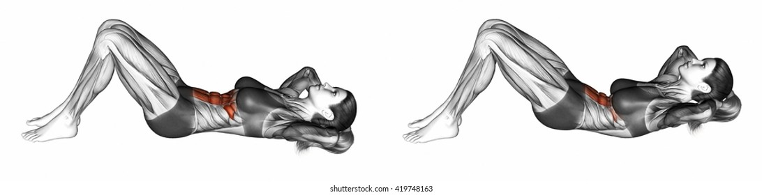 Flexion of the trunk with the rise of the pelvis lying on the floor. 3D illustration