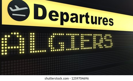 Flight to Algiers on international airport departures board. Travelling to Algeria conceptual 3D rendering