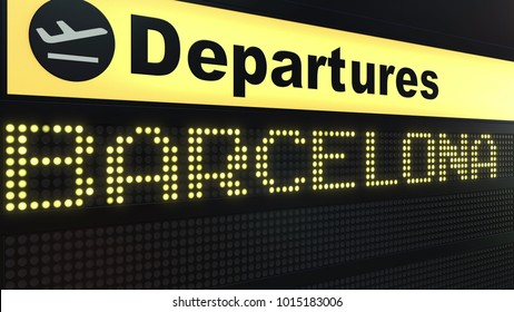 Flight to Barcelona on international airport departures board. Travelling to Spain conceptual 3D rendering