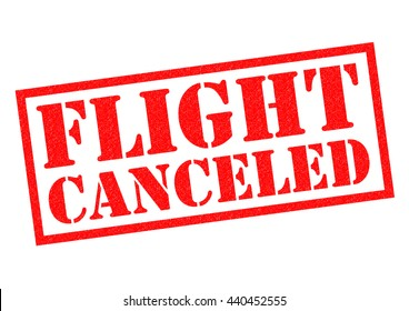 FLIGHT CANCELED (US spelling) red Rubber Stamp over a white background.