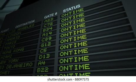 Flight information board in airport terminal. 3D illustration.