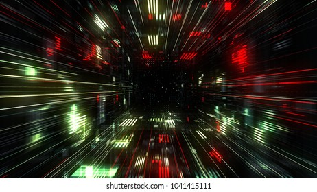 Flight into Abstract 3D cosmic futuristic HUD tunnel for music videos, night clubs, audiovisual show and performance, LED screens and projection mapping. 3D render