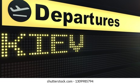 Flight to Kiev on international airport departures board. Travelling to Ukraine conceptual 3D rendering