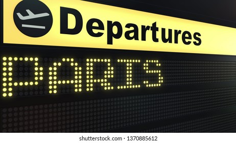 Flight to Paris on international airport departures board. Travelling to France conceptual 3D rendering