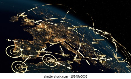 Flight Paths Over Europe. World Airplane Flight Travel Plans Connections. Global Communications - 3D Illustration. Airports Departures and Arrivals. Transportation Clusters. City Names