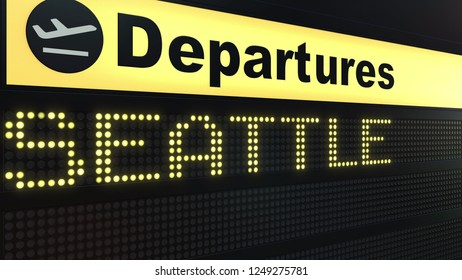 Flight to Seattle on international airport departures board. Travelling to the United States conceptual 3D rendering
