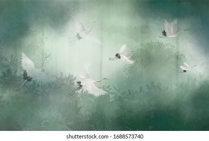 Flight of storks in the misty forest. Interior printing on the wall.