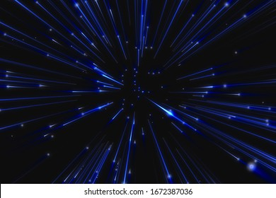 flight through blue space, warp speed on deep blue background, concept of speed