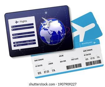 Flight tickets and mobile reservation app 3D illustration