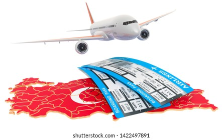 Flights to Turkey concept. 3D rendering isolated on white background