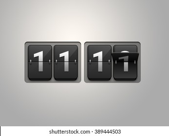 Flip clock show 11:11 on light grey background. Single man day.