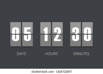 Flip Countdown timer. Flat style, sign  illustration