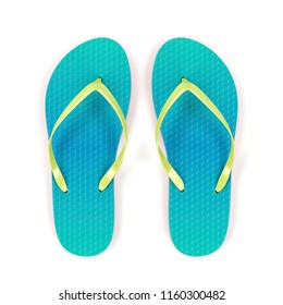 Flip flops on white background, top view. 3D illustration