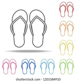 70beb5f3d flip-flops icon. Elements of Camping in multi colored icons. Simple icon for