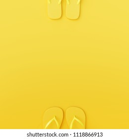 Flip-flops on yellow background. minimal summer concept. 3d rendering