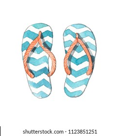 Flip-flops watercolor on white background