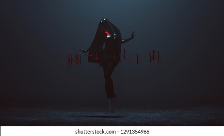 Floating Black Demon Nun Shrink Wrapped Futuristic Haute Couture Dress and Upside Down Floating Crosses Abstract Demon 3d illustration