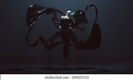 Floating Black Demon Shrink Wrapped Futuristic Haute Couture Dress and floating Fabric wave Abstract Demon 3d illustration 3d render