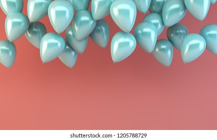 floating blue ballons on pink background 3d rendering