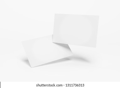 Floating business card mockup isolated on white background 3d rendering