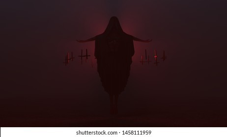 Floating Cyclops Demon with Black Poncho Futuristic Seductive Vampire Devil Futuristic Haute Couture and Upside Down Floating Crosses Abstract Demon in a Foggy Void 3d illustration 3d render