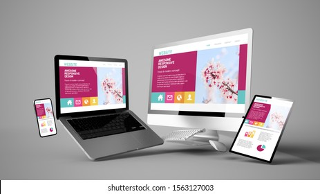 floating devices mockup with colorful responsive website design 3d rendering