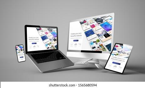 floating devices mockup with website builder design 3d rendering