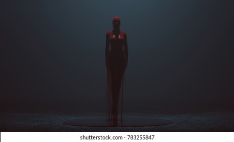 Floating Evil Blood Queen Vampire dripping in blood in a foggy void 3d Illustration 3d Rendering