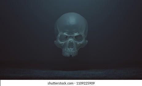 Floating Evil Crystal Skull Spirit in a foggy void 3d Illustration skull scan scsuvizlab CC Attribution