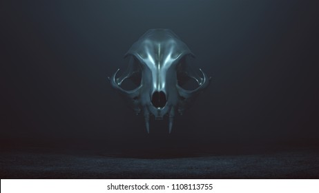 Floating Evil Silver Feline Skull Spirit in a foggy void 3d Illustration skull scan Merlinds CC Attribution