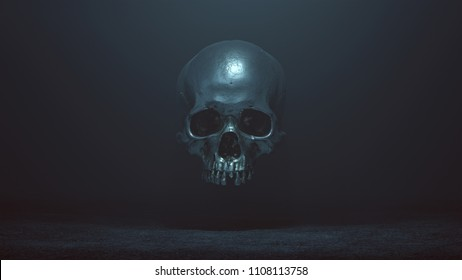 Floating Evil Silver Skull Spirit in a foggy void 3d Illustration skull scan scsuvizlab CC Attribution