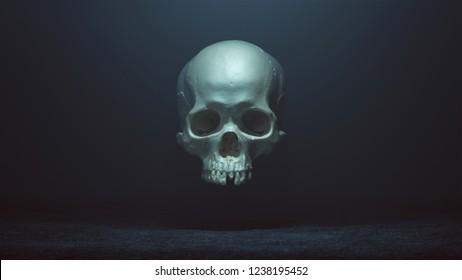 Floating Evil Skull Spirit in a foggy void 3d Illustration skull scan thingiverse scsuvizlab CC Attribution