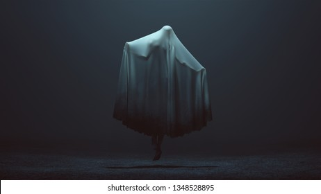 Floating Evil Spirit with Arms Out in a Death Shroud in a Foggy Void Back View 3d Illustration 3d Rendering