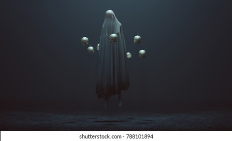 Floating Evil Spirit in a foggy void with the power of telekinesis  3d Illustration 3d Rendering