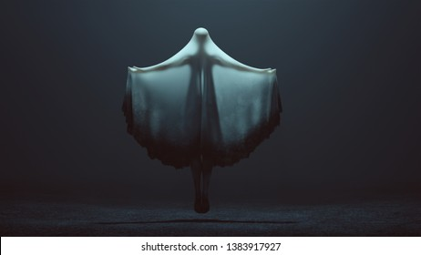 Floating Evil Spirit Ghost with Arms Out and Glowing Eyes in a Death Shroud in a Foggy Void Back View 3d Illustration 3d Rendering